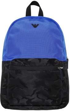 Armani Junior Nylon & Camo Jacquard Backpack