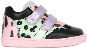 Dolce & Gabbana Leooard Print Nylon & Leather Sneakers