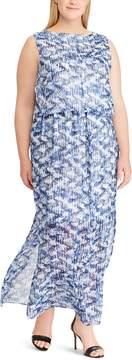 Chaps Plus Size Print Blouson Maxi Dress
