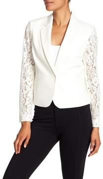 Nine West Lace Sleeve Shawl Collar Jacket