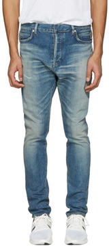 Balmain Blue Distressed Low-Rise Jeans