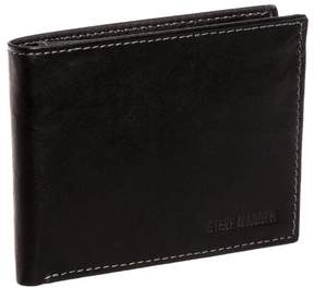 Steve Madden Black Leather Antique Passcase Bifold Wallet