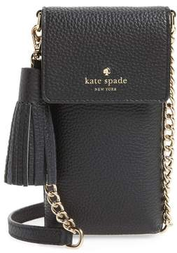 Kate Spade New York North/south Leather Smartphone Crossbody Bag - Black