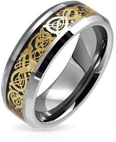 Dragon Optical Bling Jewelry Tungsten Celtic Gold Plated Black Inlay Wedding Ring.