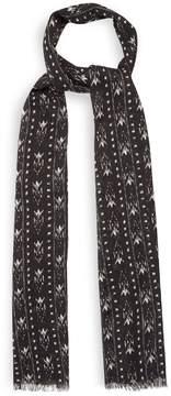 Saint Laurent Chevron ikat-print wool-blend scarf