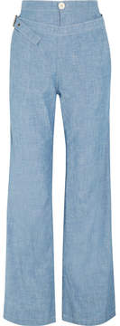 Chloé Cotton-chambray Wide-leg Pants - Light blue