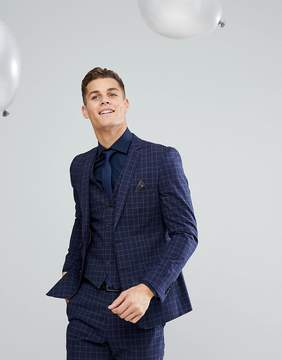 French Connection Skinny Wedding Suit Jacket in Grid Check