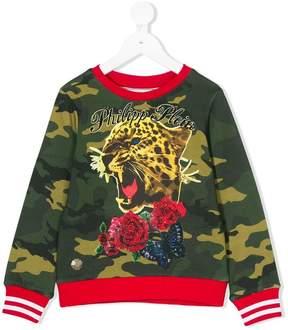 Philipp Plein Junior camouflage print sweatshirt