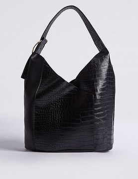 Faux Leather Ring Detail Hobo Bag
