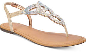 Material Girl Swirlz T-Strap Flat Sandals, Created for Macy's Women's Shoes