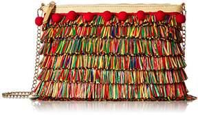 Betsey Johnson Tiki TIME Colored Raffia Crossbody Clutch