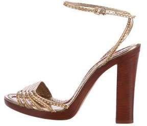 Marc Jacobs Metallic Ankle Strap Sandals