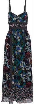 Anna Sui Denim-Trimmed Floral-Print Silk Maxi Dress