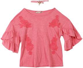 Speechless Girls 7-16 Ruffled Sleeve Floral Embroidery Tunic Top with Choker Necklace