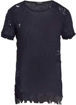 Balmain Distressed ribbed-knit jersey t-shirt