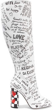 Dolce & Gabbana Printed Leather Knee Boots - White