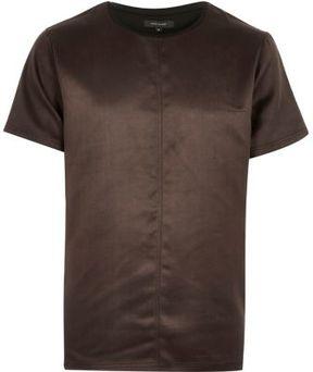 River Island Mens Brown faux suede t-shirt