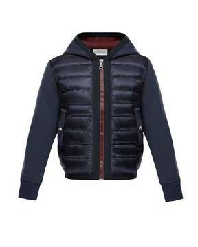Moncler Down Quilted Hooded Jacket w/ Knit Sleeves, Size 4-6