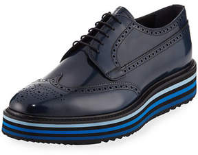 Prada Spazzolato Leather Brogue Sneaker