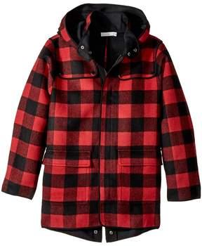 Stella McCartney Beet Checkered Wool Coat w/ Detachable Hood Boy's Coat