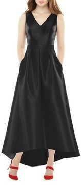 Alfred Sung Women's High/low Sateen Twill Gown