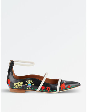 Malone Souliers Robyn embroidered leather pointed-toe flats