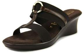 Italian Shoemakers Italian Shoe Makers Bess Women Open Toe Canvas Brown Wedge Sandal.