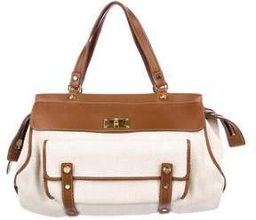 Lanvin Leather-Trimmed Straw Shoulder Bag
