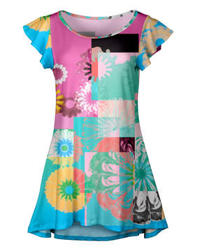 Lily Pink & Teal Abstract Floral Ruffle-Sleeve Tunic - Women & Plus
