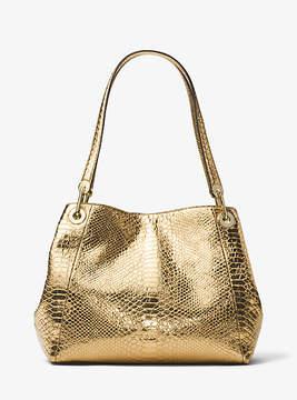 Michael Kors Raven Metallic Embossed-Leather Shoulder Bag - GOLD - STYLE