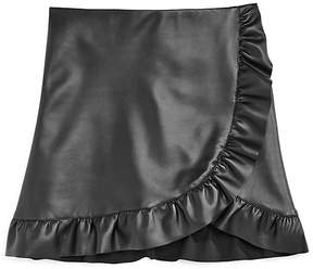Aqua Girls' Faux-Leather Ruffle-Trim Skirt, Big Kid - 100% Exclusive