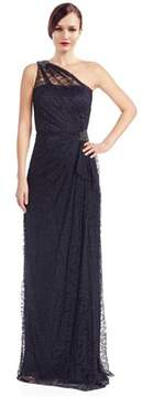 David Meister One Shoulder Lace Gown.