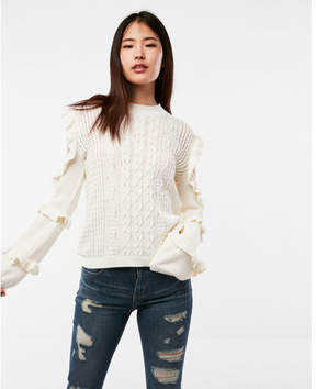 Express ruffle cold shoulder cable knit sweater