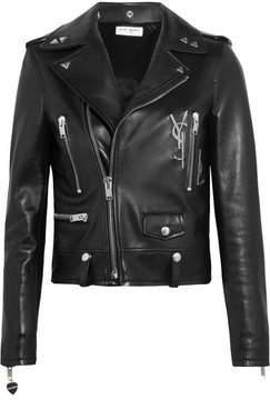 Saint Laurent - Perfecto Embellished Leather Biker Jacket - Black