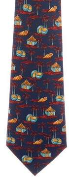 Hermes Silk Tropical Print Tie