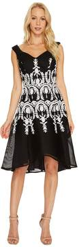 Adrianna Papell Embroidered Neoprene Fit and Flare Dress Women's Dress