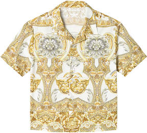 Versace White and Gold Baroque Print Shirt