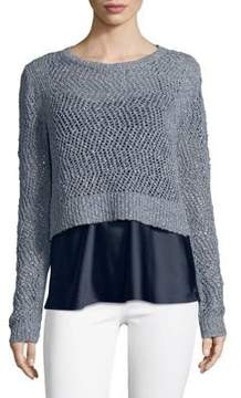 T Tahari Mixed Media Crochet Sweater