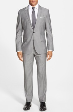 BOSS Men's 'Huge/genius' Trim Fit Solid Wool Suit