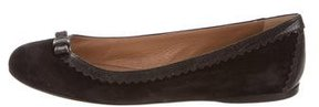 Alaia Suede Lizard-Trimmed Flats
