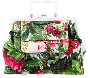 Dolce & Gabbana Small Floral Print Frame Satchel - GREEN - STYLE