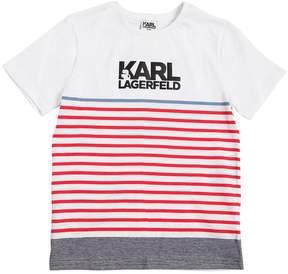 Karl Lagerfeld Logo Striped Cotton Jersey T-Shirt