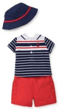 Little Me Baby Boy's Three-Piece Cotton Hat, Polo and Shorts Set