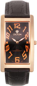 Croton Mens Black And Rose Rectangular Strap Watches