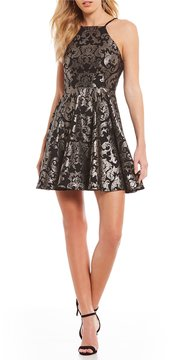 B. Darlin Foiled Print Fit-And-Flare Dress