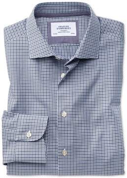 Charles Tyrwhitt Slim Fit Semi-Spread Collar Business Casual Gingham Navy and Grey Cotton Dress Shirt Single Cuff Size 15/34