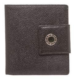Bvlgari Black Leather Snap Closure Small Wallet.