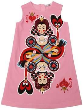 Dolce & Gabbana Queen Of Hearts Cotton Dress W/ Sequins