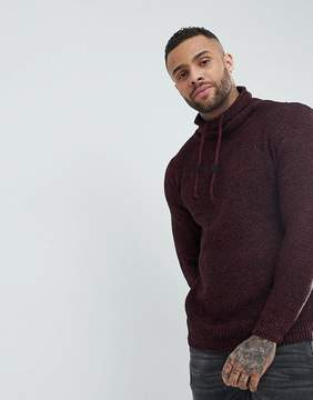 Pull&Bear Knitted Sweater With Wrap Around Collar In Burgundy