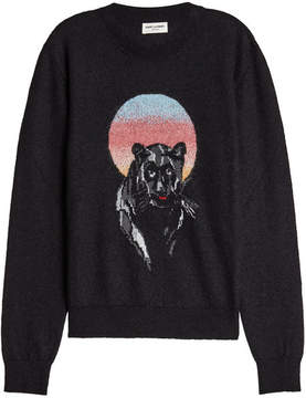 Saint Laurent Printed Pullover with Mohair, Wool and Cotton